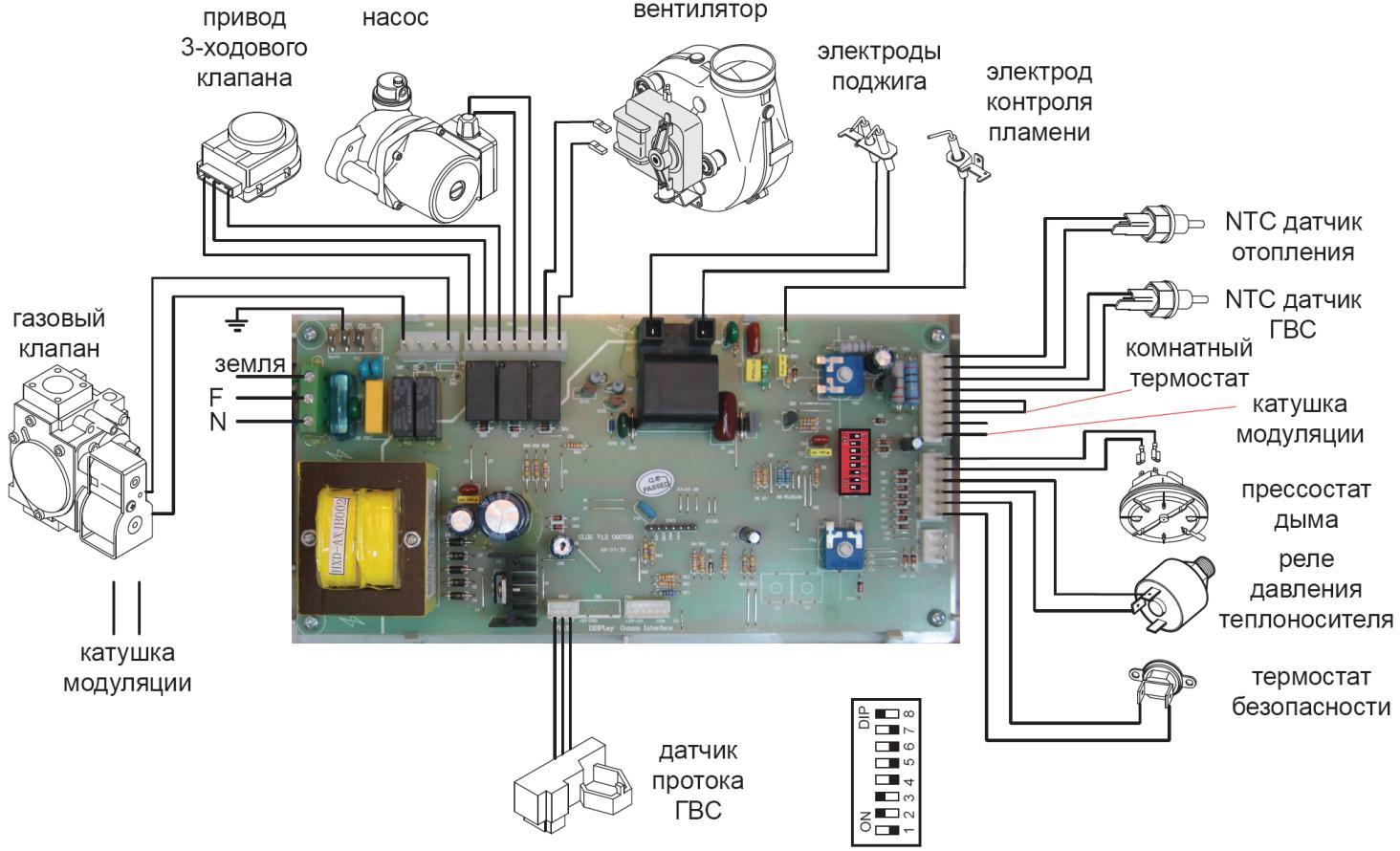 Схема блока управления газовых колонок